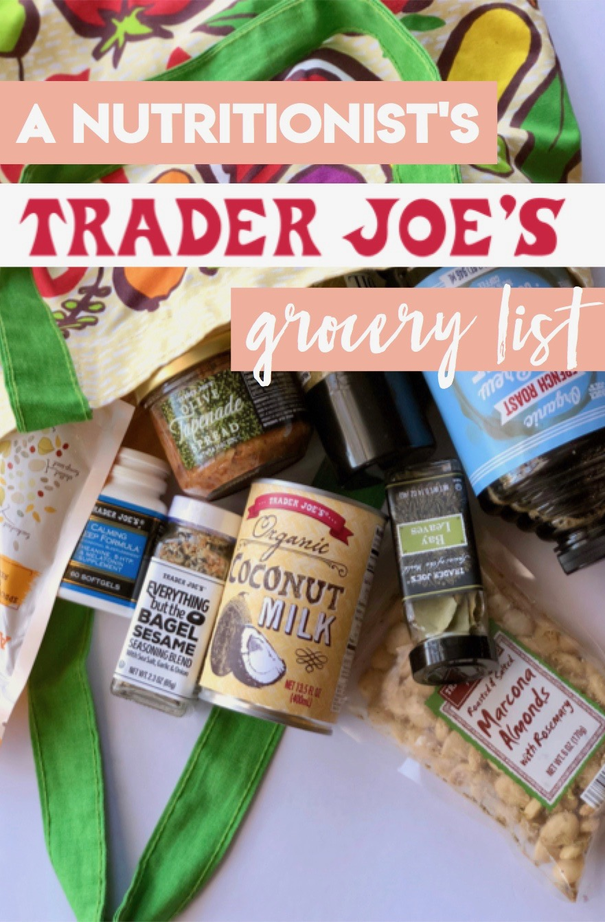 All the items a holistic nutritionist buys at Trader Joe's! Trader's Joes Grocery List for Whole 30, Paleo, Gluten Free, Dairy Free, No Added Sugars
