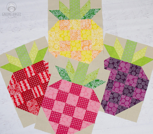 "Strawberry Quilt Block finishes at 17.5"" x 24.5"" and is great for a quick large quilt finish, using up your scraps and having fun with colour. This version is made featuring Karen Lewis Blueberry Park for Robert Kaufman partnered with Robert Kaufman Essex Linen."
