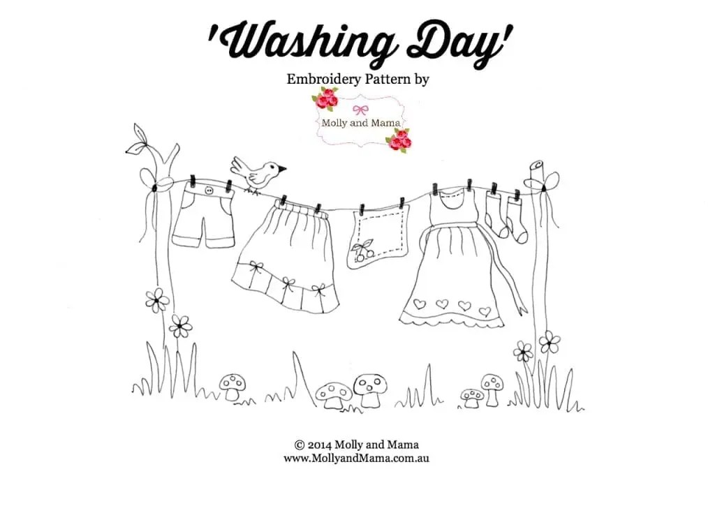 'Washing Day' - a free embroidery pattern from Molly and Mama