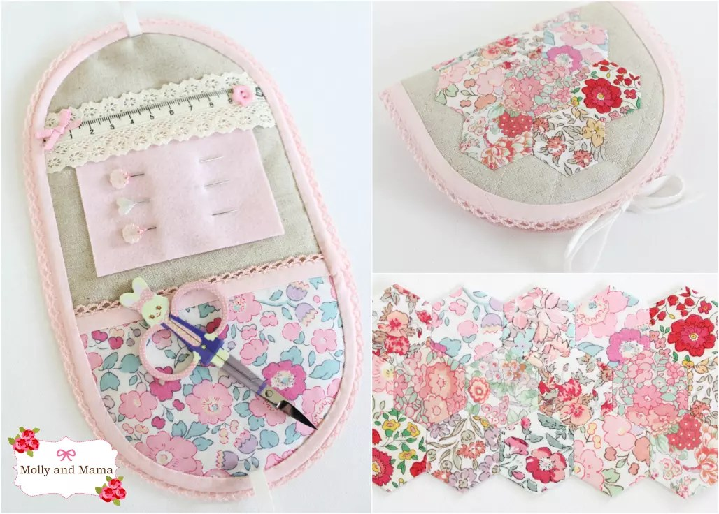 Hexie Sewing Kit stitched by Molly and Mama