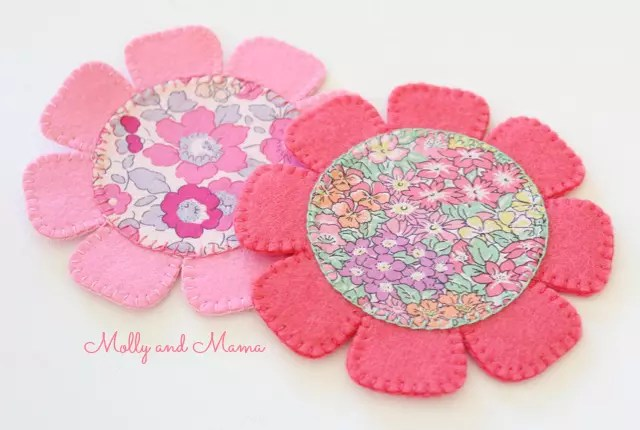Liberty flower coasters by Molly and Mama