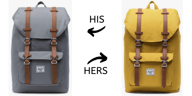 image of his and hers backpacks