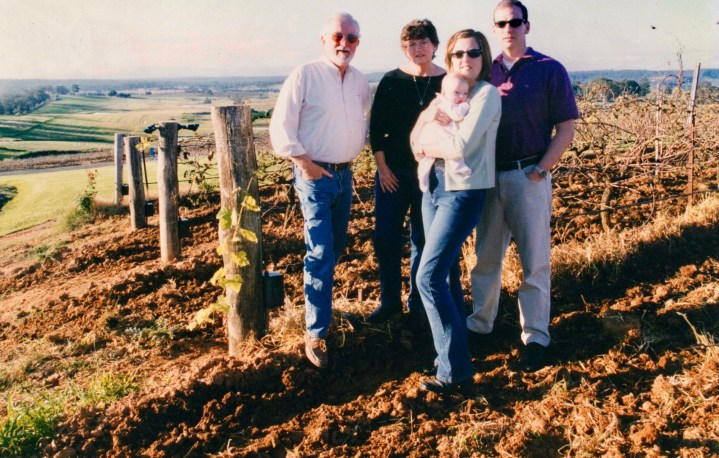 family photo on Hunter Valley wine country