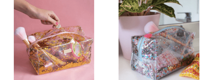 images of confetti makeup bags