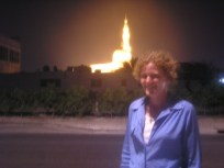 Me in front of a glowing mosque in Dubai