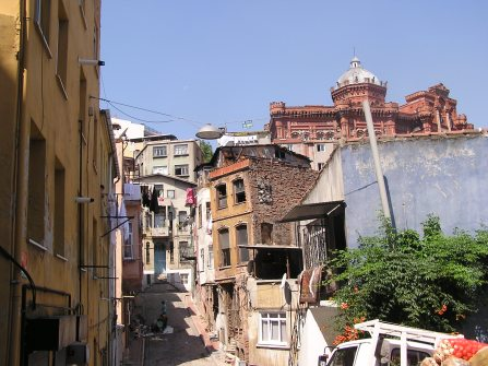 Street in Istanbul looking toward the Greek school