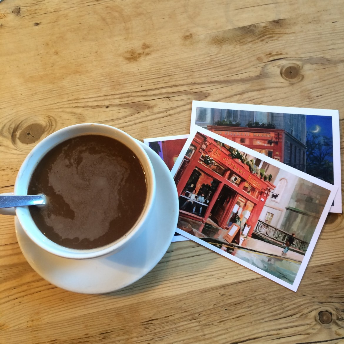 Coffee and postcard from Elephant House