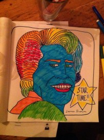We found a bar that provides felts and musicians to colour in