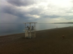 The only time I saw the beach at Nice empty - after a morning rain shower