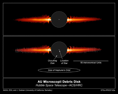 Hubble photo of polarized light from a star's protoplanetary debris disk