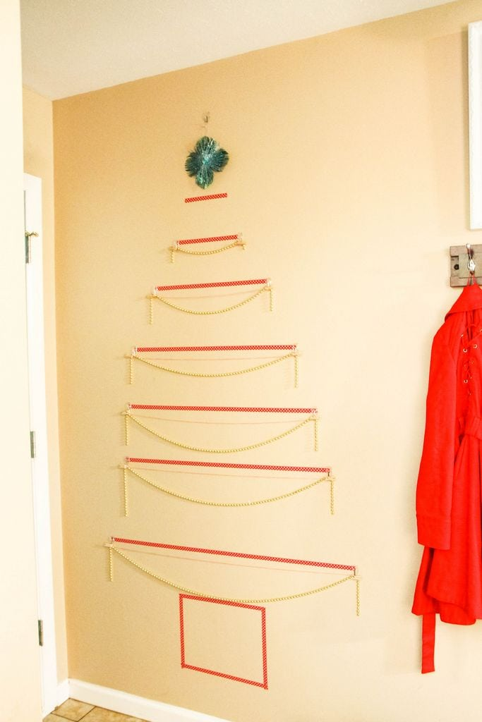 Washi Tape Christmas Tree Wall Card Display MomAdvice