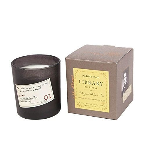 cozy home candle for book lovers
