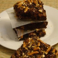 Chocolate Caramel Pretzel Brownies