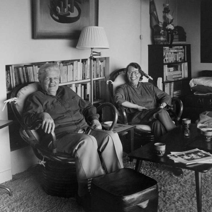 Martin and Lyon in their living room c. 1990s (courtesy GLBT Historical Society)
