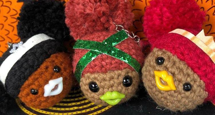 Crotcheted dolls with glitter headband keychains or Bag Charms
