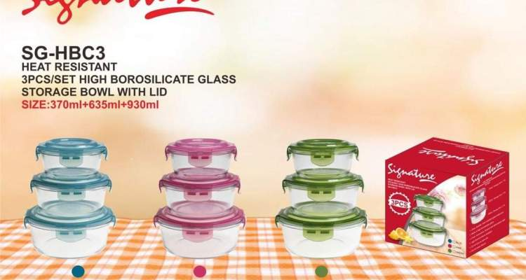 Glass Storage bowl – with lid – 3pcs/set