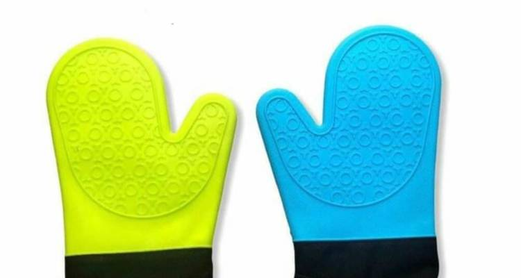 Heat Resistant Silicone Gloves Non-Slip with Cotton Lining for Kitchen