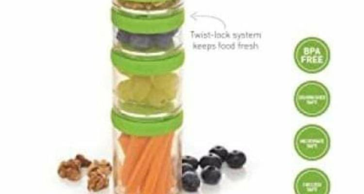 Healthy Eating BPA-Free Stackable Lunch Box Snack Pots(4-Piece Set)
