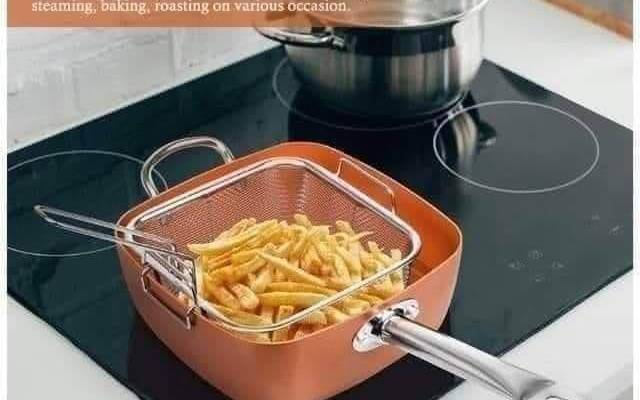 A Copper Pan Fry,Bake, Steam Cook 11.5″