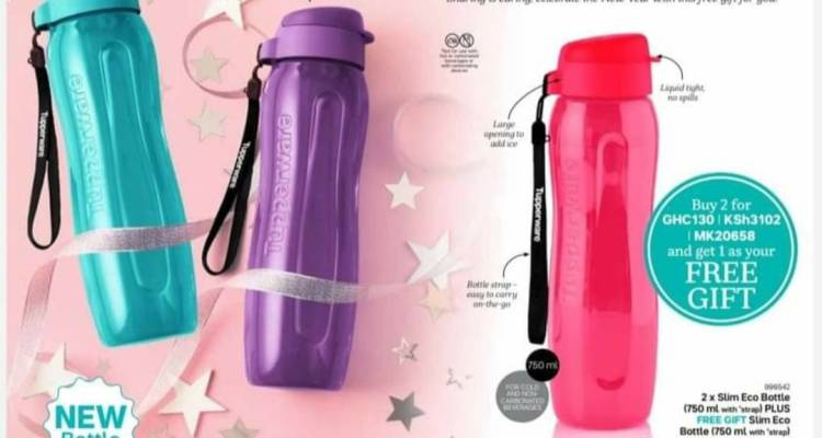 buy 2 x NEW Tupperware Slim Eco Bottles (750ml with strap) and get 1 x NEW Tupperware Slim Eco Bottle (750ml with strap) as your FREE GIFT!