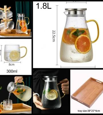 Glass Pitcher (1.8 Ltr) with Lid and 6 Borosilicate Glass Cups + 1 wooden tray + 1 stand