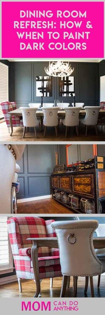 dark wall paint dining room makeover