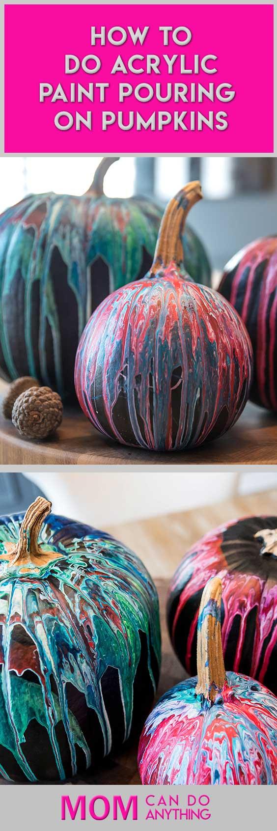 Paint-pouring-on-pumpkins