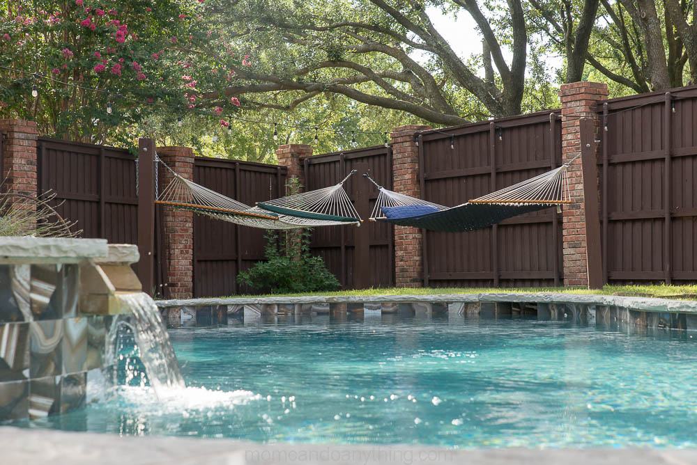 Pool with hammocks