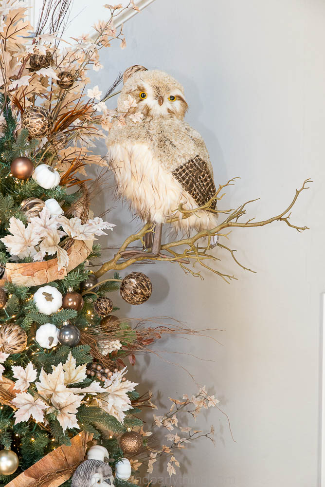Large Owl In Christmas Tree