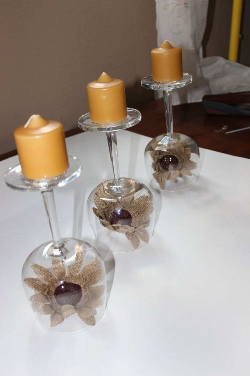 Recycled Wine Glasses Fall Wine Glass Centerpieces