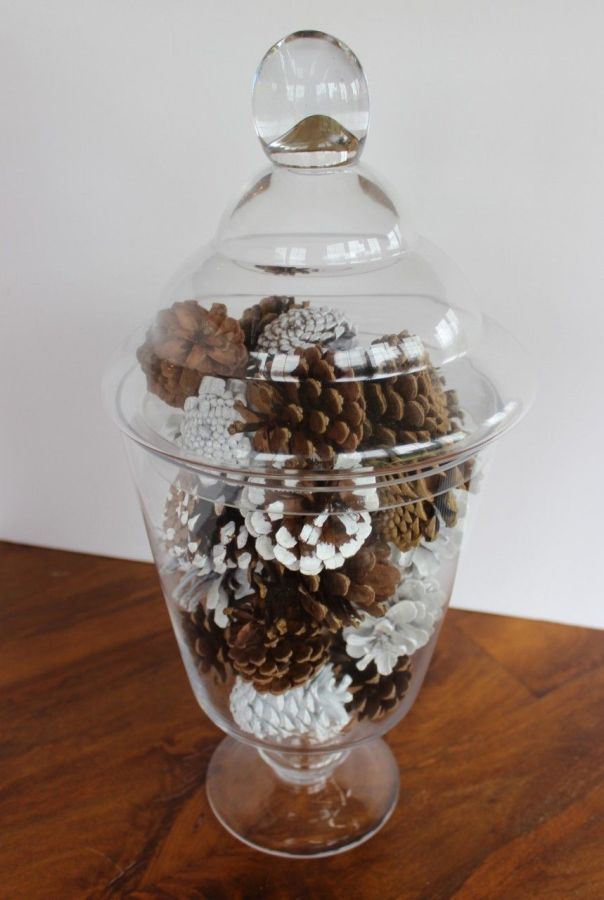 My pinecone filled apothecary jar.