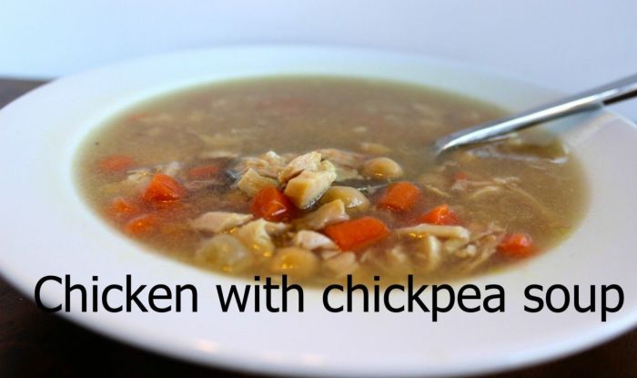 Chicken with chickpea soup. Healthy, flavorful and so satisfying!