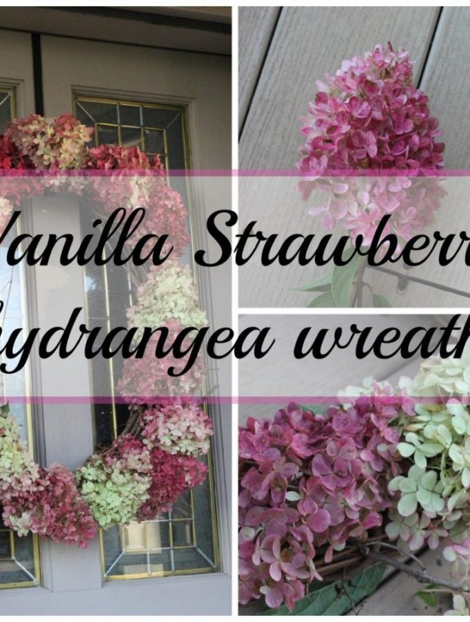 Hydrangea wreath with vanilla strawberry hydrangeas