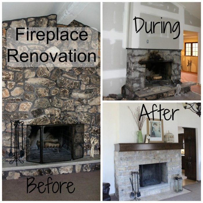 A fireplace transition.  From totally ugly, to totally awesome!