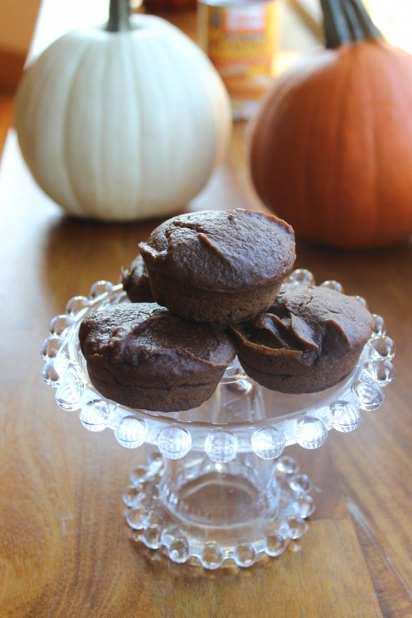 Chocolate pumpkin muffins. Just three ingredients. Tastes chocolatey but is still healthy, with a full can of pumpkin in the mixture!