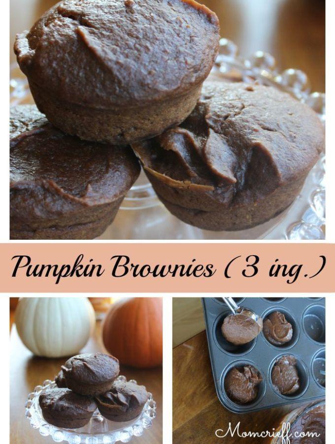 Pumpkin Brownie Muffins – Three Ingredients