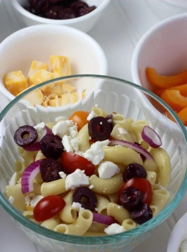 Pasta bar - Greek themed pasta salad.