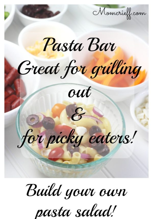Make your own pasta bar. Great for a BBQ and for those picky eaters!
