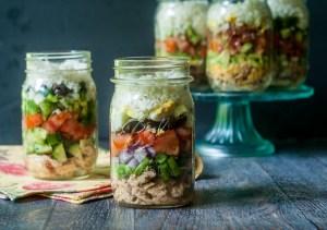 low carb cauliflower salad jars