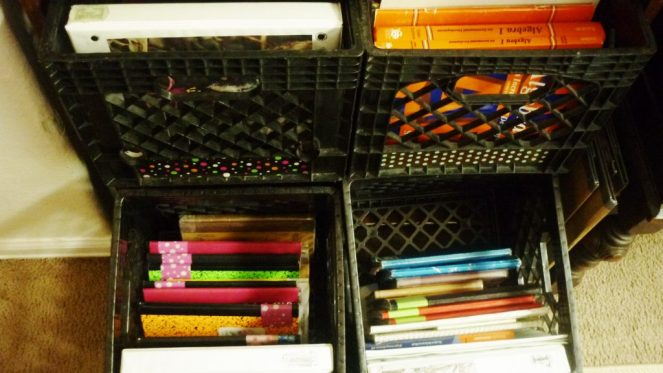 crates for organizing homeschool supplies