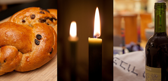 Challah, Candle and Wine