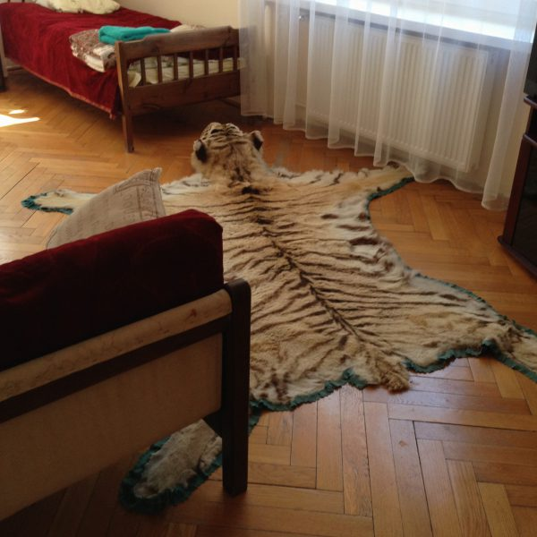 A lovely bedroom on the second floor of the house, decorated with animal skins.