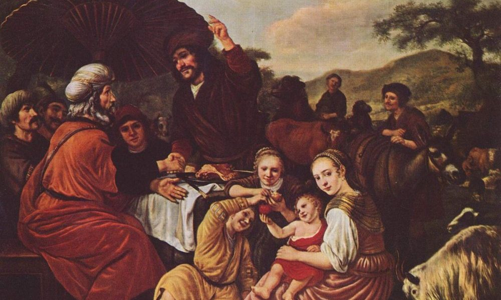 Moses takes his leave of Jethro by Jan Victors