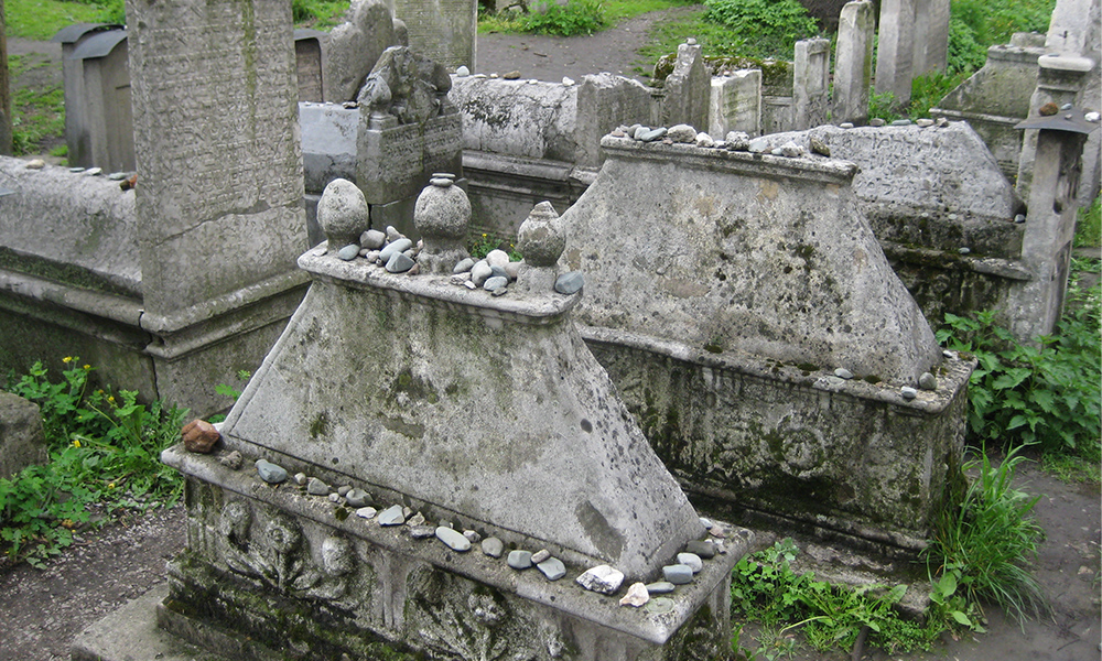 Jewish Gravesite with rocks on the tombs