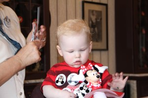 First haircut with Minnie Mouse
