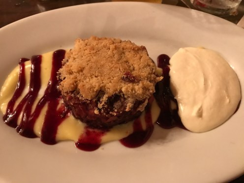 Warm Fruit Crumble at Rose and Crown