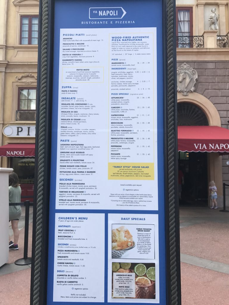 Menu Board for Via Napoli