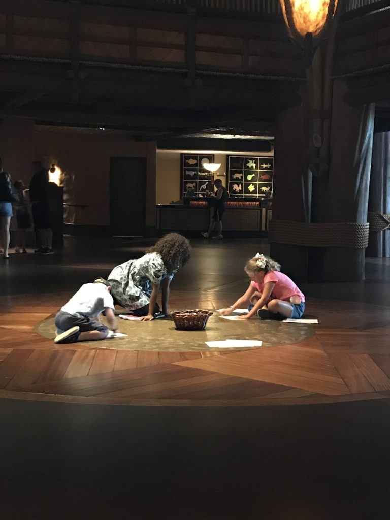 Kids activity - rubbings on Animal Kingdom Lodge floor