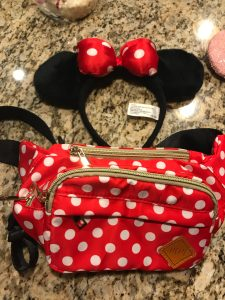 Moment makers red and white polka dot fanny pack