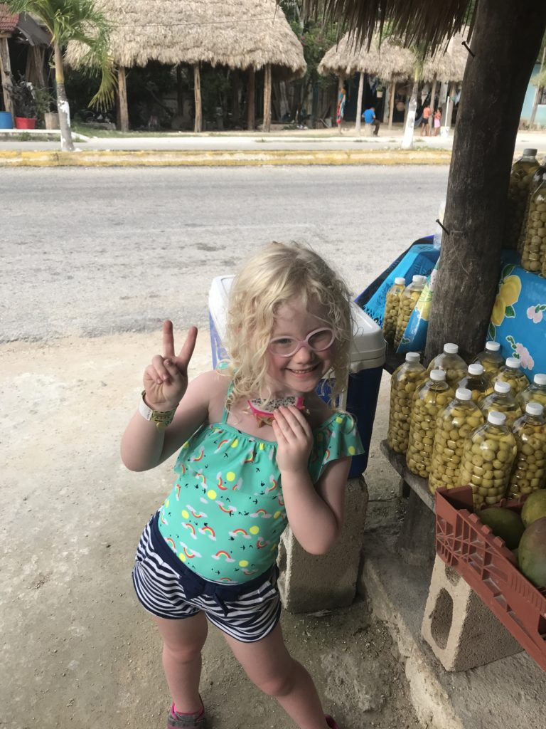 Eating Dragon Fruit in Yucatan